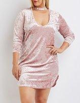 Charlotte Russe Plus Size Velvet Cut-Out Mock Neck Dress