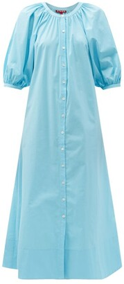 STAUD Vincent Puff-sleeve Cotton-blend Midi Dress - Blue