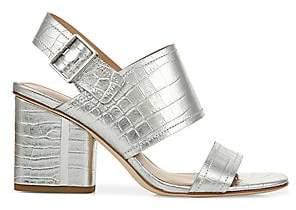 Via Spiga Women's Harriett Metallic Croc-Embossed Leather Sandals