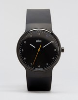 Braun Prestige Leather Watch In Black