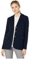 Lauren Ralph Lauren Combed Cotton Nylon Long Sleeve Blazer (Lauren Navy) Women's Clothing