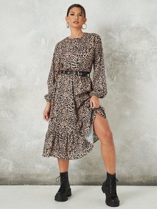 Missguided Ruffle Hem Midi Smock Dress Ls Dalmatian