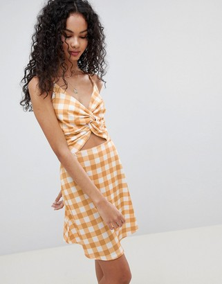 Lasula Check Tie Front Cut Out Dress