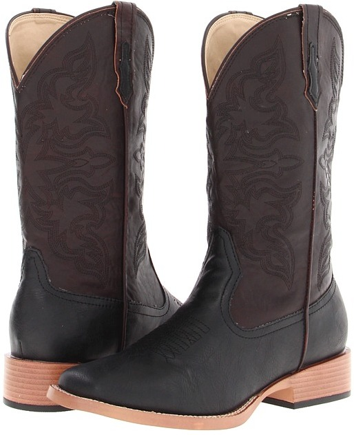 Roper Square Toe Traditional Cowboy Boot (Black/Antique Wine) - Footwear