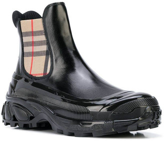 Burberry Check Detail Chelsea Boots