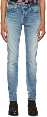 Saint Laurent Blue Skinny Low Waist Jeans