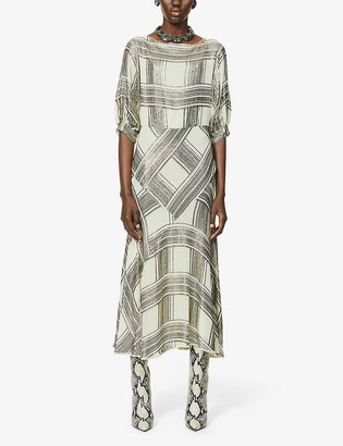 Dries Van Noten Sequin-embellished check-pattern chiffon midi dress
