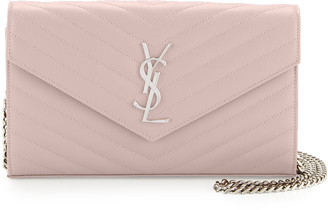 Saint Laurent Monogram Large Grain de Poudre Calfskin Wallet on Chain