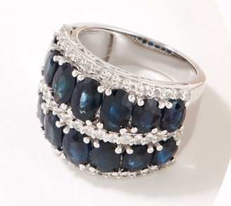 Precious Gemstone & White Topaz Sterling Silver Band Ring