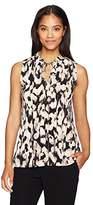 Ellen Tracy Women's Smocked High Neck Sleevless Top