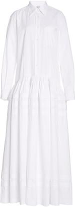 Rosie Assoulin Pleated Tiered Cotton-Poplin Maxi Dress