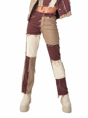 N /C Women's High Waisted Patchwork Straight Jeans Fashion Block Color Distressed Pencil Denim Pants (Brown M)