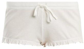 Skin - Rafaela Ruffled-hem Cotton-jersey Pyjama Shorts - Womens - White