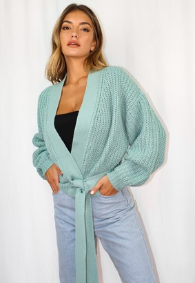 Missguided Mint Belted Knitted Cardigan