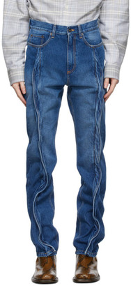 Y/Project Blue Twisted Seam Jeans