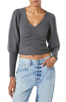 Frame Shirred Recycled Cashmere & Wool Crop Sweater