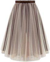 Urban CoCo Women's Tutu Ballet Sheer Ruffle Mesh Tulle Overlay Skirt (S, )