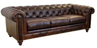 "Brompton Newbury Genuine Leather Chesterfield 95"" Rolled Arm Sofa Westland and Birch Fabric Brown Genuine Leather"