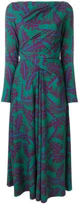 Talbot Runhof contrast leaf print dress