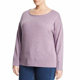 NYDJ Women's Plus Size Long Sleeve Sweater with Exposed Seams