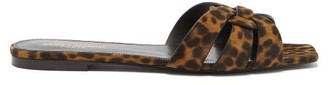 Saint Laurent Tribute Nu Pieds Leopard-print Suede Sandals - Womens - Leopard