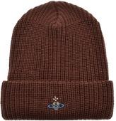 Vivienne Westwood Knit Beanie Hat Brown