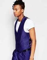 Rudie Slim Fit Textured Blue Waistcoat