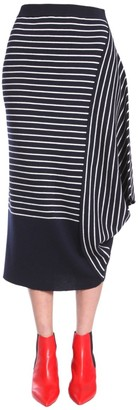 J.W.Anderson Striped Asymmetric Draped Skirt