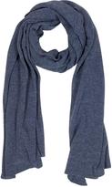 Mila Schon Solid Dark Blue Wool Blend Stole