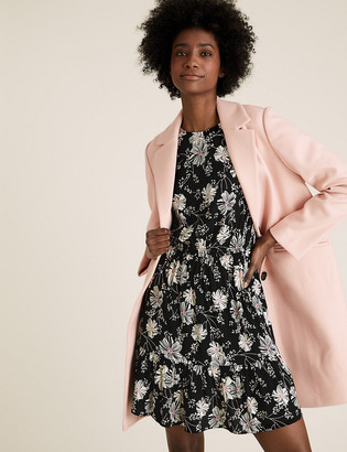 Marks and Spencer Floral Round Neck Mini Waisted Dress