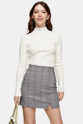 Topshop Oat Puff Sleeve Knitted Top
