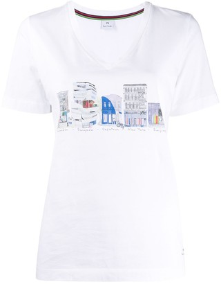 Paul Smith city print V-neck T-shirt
