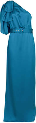 Peter Pilotto One-Shoulder Satin Gown