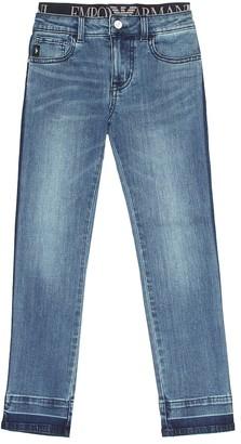 Emporio Armani Kids Logo waistband jeans