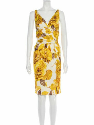 Dolce & Gabbana Printed Knee-Length Dress Yellow