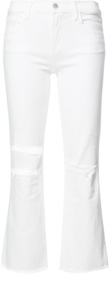 J Brand ripped detail cropped jeans