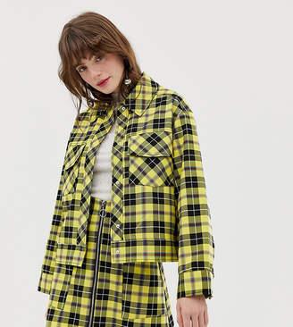 Monki trucker jacket in yellow check