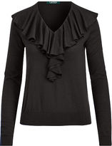 Ralph Lauren Petite Ruffled V-Neck Sweater