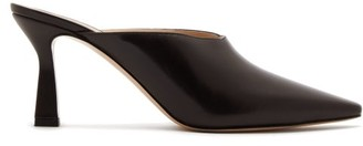 Wandler Lotte Leather Mules - Dark Brown