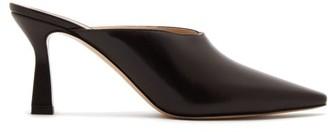 Wandler Lotte Leather Mules - Womens - Dark Brown