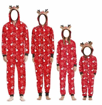 Snaked Cat Christmas Family Pajamas Jumpsuit with Hooded Elk Style Parent-Child Outfits (Dad S)