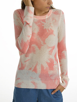 White + Warren Cashmere Palm Print Crewneck