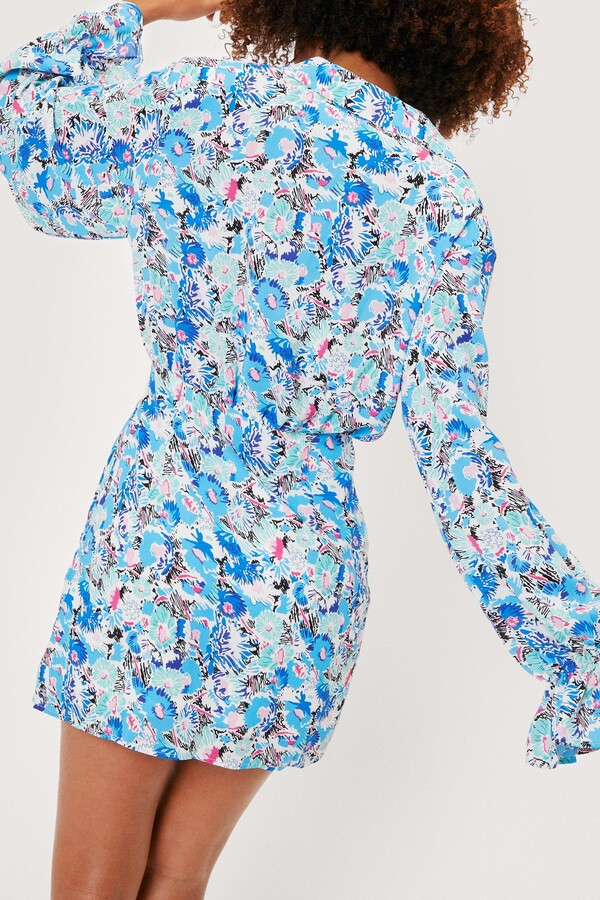 Thumbnail for your product : Nasty Gal Womens Abstract Floral Print Mini Shirt Dress - Blue - 4