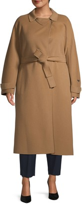 Marina Rinaldi Plus Belted Long Wool Coat