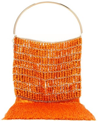Rosantica Georgina Beaded Fringe-trimmed Bag - Orange