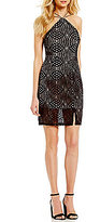 Sequin Hearts Y-Neck Two-Tone Lace Strappy-Back Sheath Dress