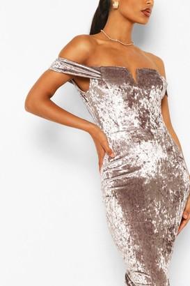 boohoo Off Shoulder Bodycon Midi Dress