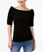 INC International Concepts Petite Ruffled Off-The-Shoulder Sweater, Created for Macy's