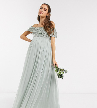 Maya Maternity Bridesmaid bardot maxi tulle dress with tonal delicate sequins in sage green