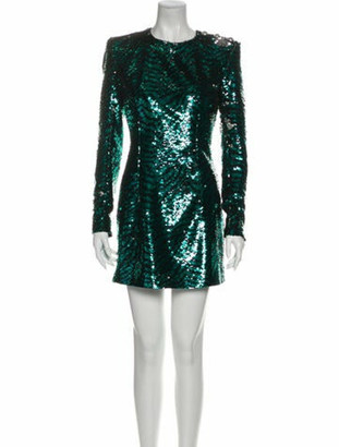 Balmain Crew Neck Mini Dress w/ Tags Green